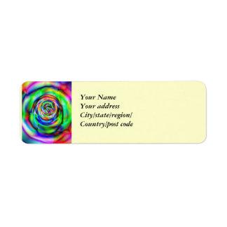 Psychedelic spiral steg returadress etikett