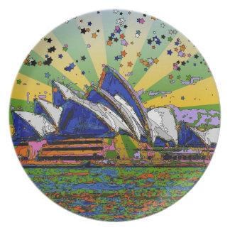 Psychedelic värld: Sydney Australien horisont A2 Tallrik