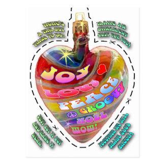 Psychedelic vykort för hjärtautklippprydnad
