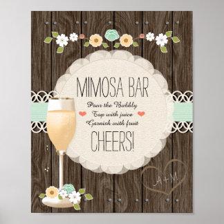 Pub för Mimosa för MintBoho lantlig gifta sig Poster