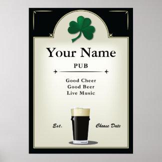 Puben undertecknar, den irländska puben, personlig poster