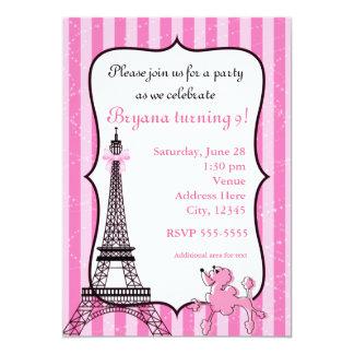 Pudel i Paris rosor görad randig Eiffel tornchic 12,7 X 17,8 Cm Inbjudningskort