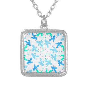 Pudelblått pekar mönster silverpläterat halsband 357882f76e98e