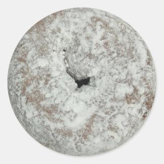 Pudra glansiga klistermärkear för sugermunkrundan runt klistermärke