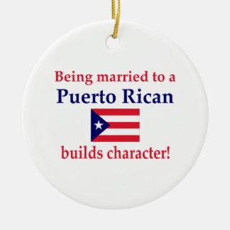 Puerto Rican bygger teckenet Julgransprydnad Keramik