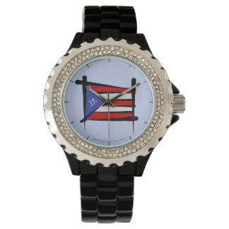 Puerto Rico borstar flagga Armbandsur