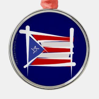 Puerto Rico borstar flagga Julgransprydnad Metall