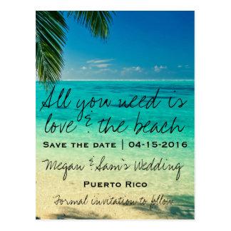 Puerto Rico destinationsbröllop spara datum Vykort