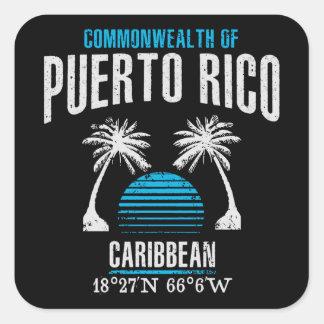Puerto Rico Fyrkantigt Klistermärke