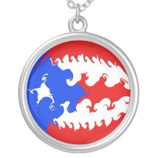 Puerto Rico Gnarly flagga Halsband Med Rund Hängsmycke