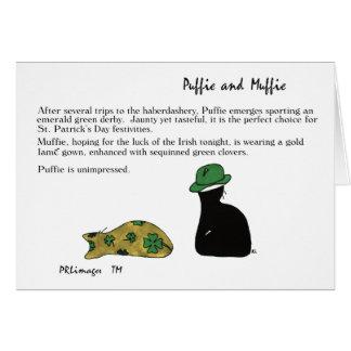Puffie och Muffie St Patrick dagkort Hälsningskort