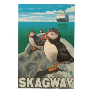 Puffins & kryssningfrakt - Skagway, Alaska Trätavla