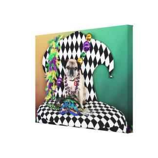 Pugsgiving Mardi Gras 2015 - Luigi - mops Canvastryck