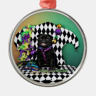 Pugsgiving Mardi Gras 2015 - Nacho - mops Julgransprydnad Metall