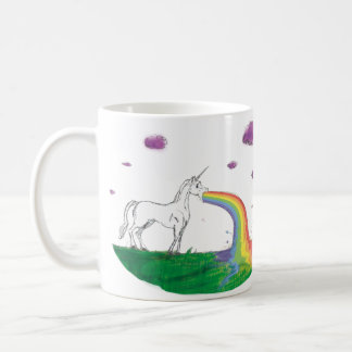 Puking unicornkopp för sagolik regnbåge kaffemugg