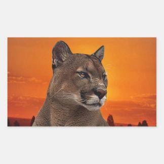 Puma på solnedgången rektangulärt klistermärke