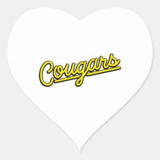 Pumor i gult hjärtformat klistermärke