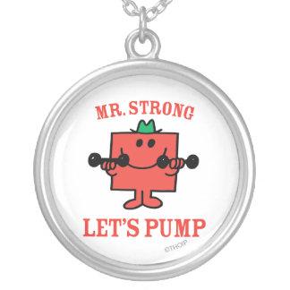 Pumpa järn med starka Herr Silverpläterat Halsband