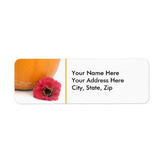 Pumpa och blomma returadress etikett