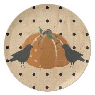 Pumpa och polka dots pläterar dinner plate