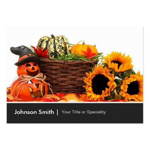 Pumpahöstblommor - happy halloween visitkort mallar