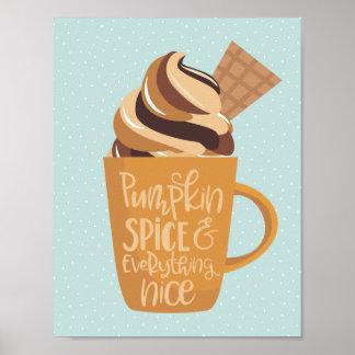 Pumpakrydda och allt trevliga Latte Poster
