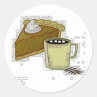 Pumpapaj och kaffeklistermärke runt klistermärke