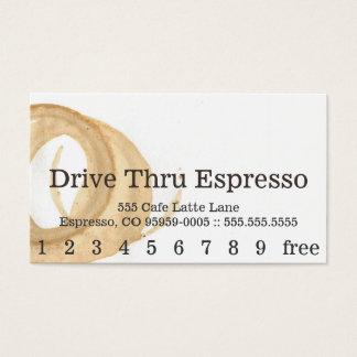 Punchcard för fläck för kaffe för visitkort