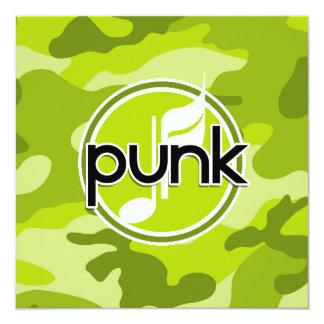 Punk; ljust - grön camo, kamouflage fyrkantigt 13,3 cm inbjudningskort