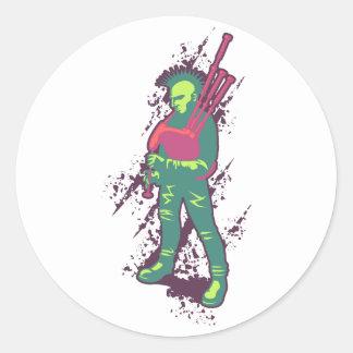 Punk pipblåsare runt klistermärke