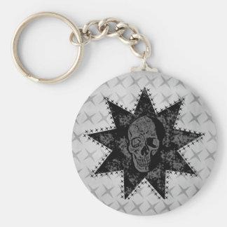 Punk skalle Keychain (grått) Rund Nyckelring