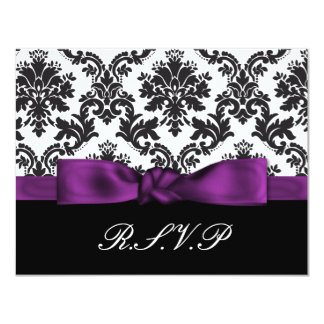 purple damask  rsvp custom invitations