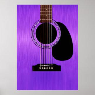 Purpurfärgad akustisk gitarr poster