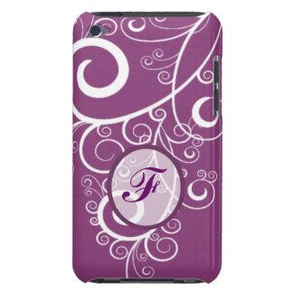Purpurfärgad bakgrundsvit virvlar runt monogramen barely there iPod skyddande skydd