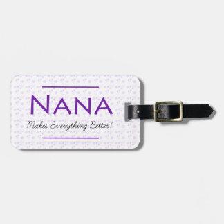 Purpurfärgad blom- bagagemärkre för Nana Bagagebricka