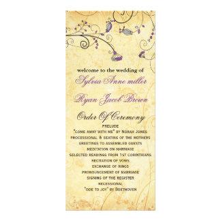 purpurfärgad blom- bröllopsprogram för lantlig reklamkort