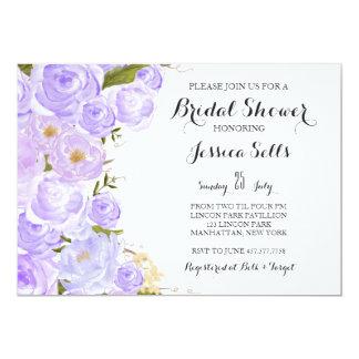 Purpurfärgad blom- inbjudningskort för möhippan