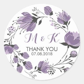 Purpurfärgad blom- klistermärke för
