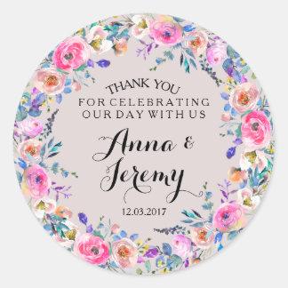 Purpurfärgad blom- kranbröllopklistermärke runt klistermärke