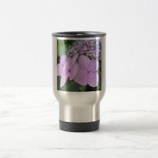 Purpurfärgad blomma blomma för vanlig hortensia resemugg