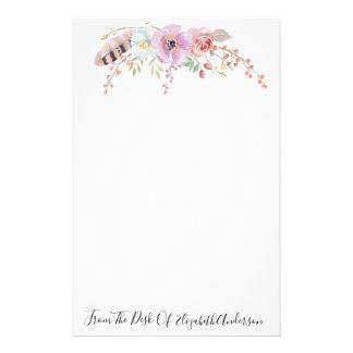 Purpurfärgad blommigt för vattenfärg & brevpapper