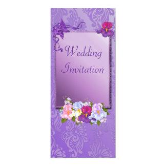 Purpurfärgad bröllopinbjudan 10,2 x 23,5 cm inbjudningskort