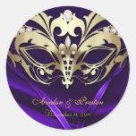 Purpurfärgad bröllopklistermärke för guld- runda klistermärken