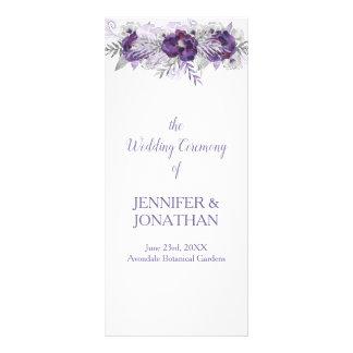 Purpurfärgad bröllopsprogram för reklamkort