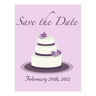 Purpurfärgad bröllopstårtaspara dateravykortet vykort