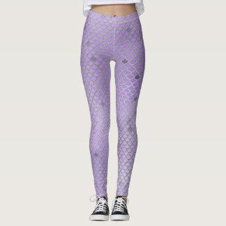 Purpurfärgad damasker för sjöjungfrufjällmönster leggings