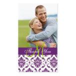 Purpurfärgad damastast märkre för favör för fotobr visitkort mallar