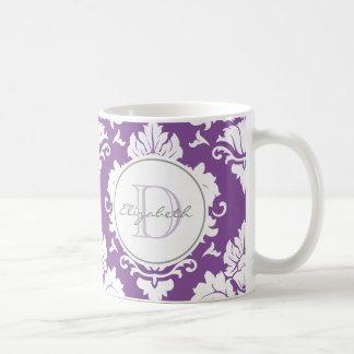Purpurfärgad damastast Monogrammed mugg