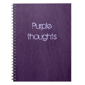 purpurfärgad denim anteckningsbok med spiral