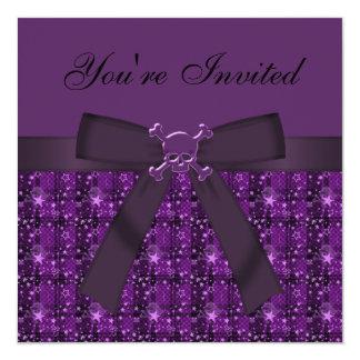 Purpurfärgad döskallar & Glittery Fyrkantigt 13,3 Cm Inbjudningskort